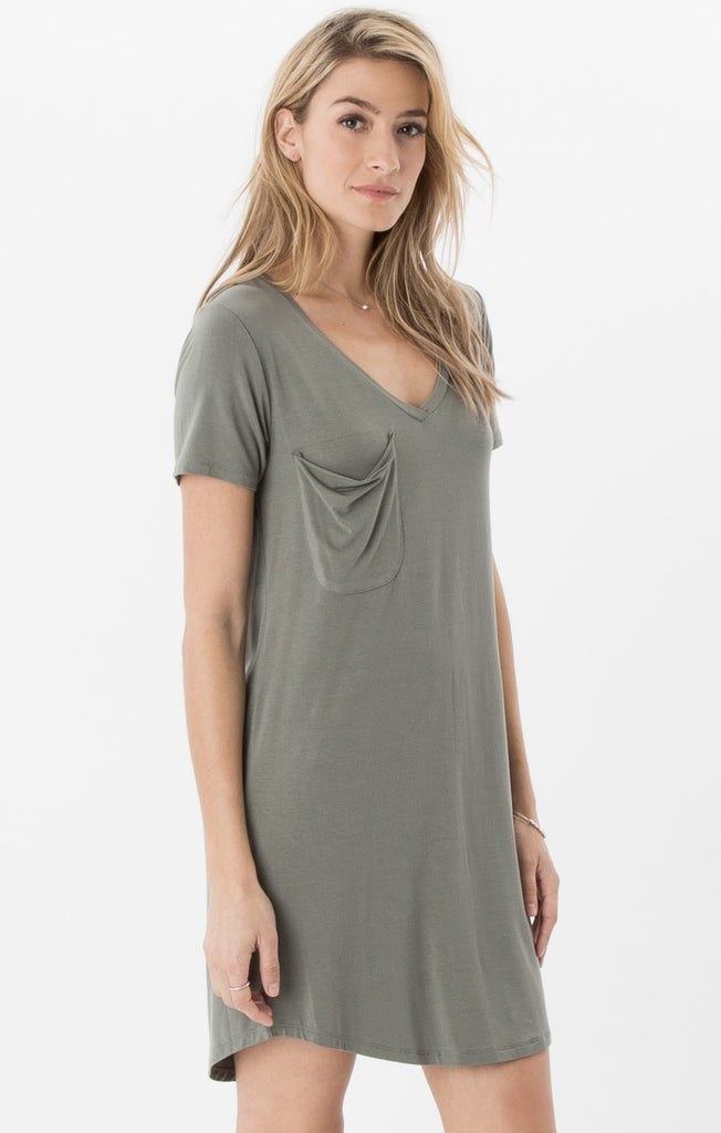 The Pocket Tee Dress Ash Green
