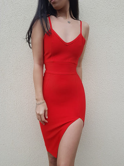 CORDELIA Bandage Dress- Red - ROYA COLLECTION