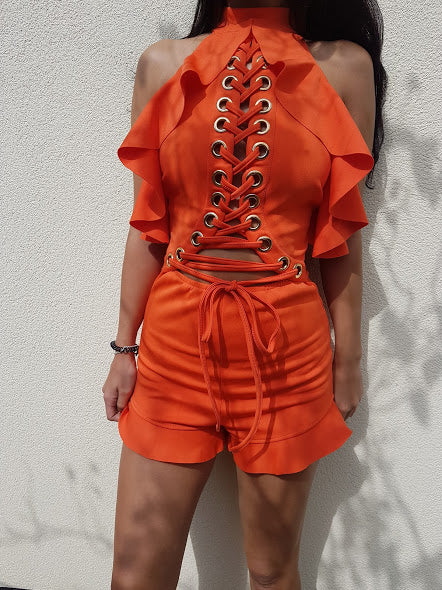 ' LOVERS HOLIDAY ' Playsuit - Orange