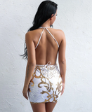 UNIVERSE Multiway Sequin Dress - White & Gold - ROYA COLLECTION
