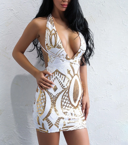 UNIVERSE Multiway Sequin Dress - White & Gold