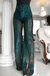 ' ALL THAT GLAM ' Green Embroidered Trousers - ROYA COLLECTION