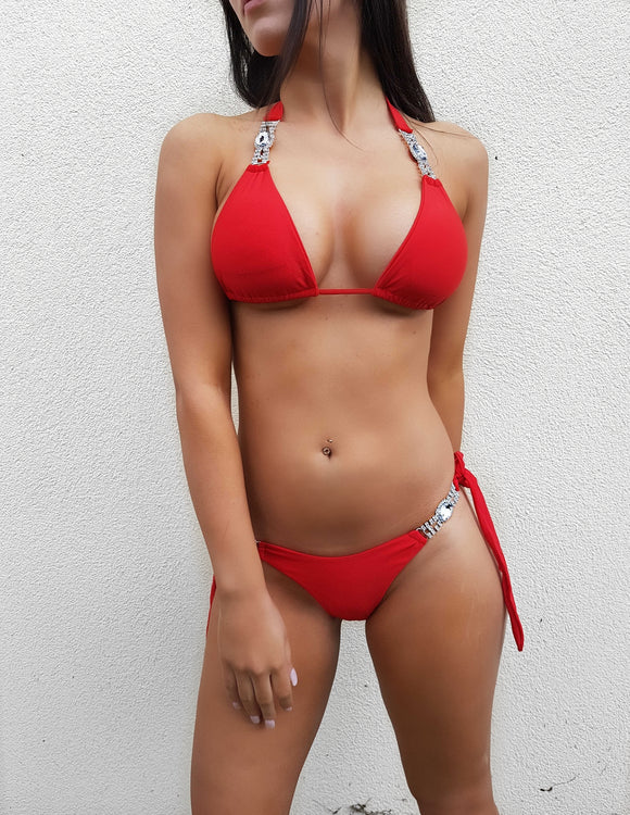 ' LONG ISLAND' Diamante Bikini - Red - ROYA COLLECTION
