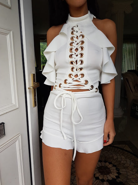 ' LOVERS HOLIDAY ' Playsuit - White