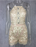 LONIA Lace Embroidery Playsuit - ROYA COLLECTION