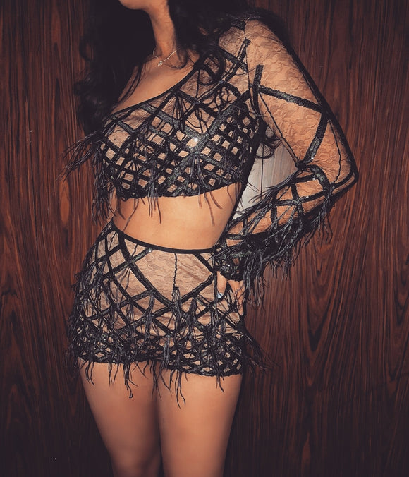 ''PENAR'' Lace Plunge Two Piece - Black - ROYA COLLECTION