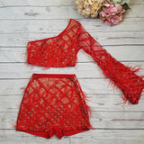 ''PENAR'' Lace Plunge Two Piece - Red - ROYA COLLECTION