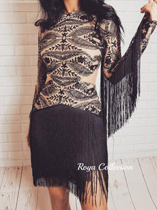 ' LADY LUXE ' Fringe Glitter Dress - Black - ROYA COLLECTION