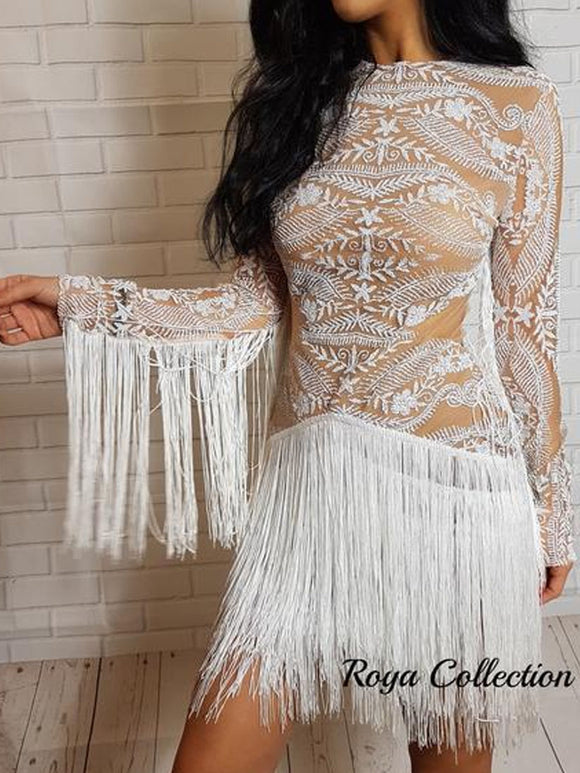 ' LADY LUXE ' Fringe Glitter Dress - White - ROYA COLLECTION