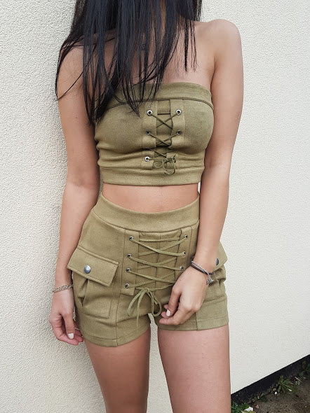 HEIDI Lace Up Two Piece- Khaki - ROYA COLLECTION