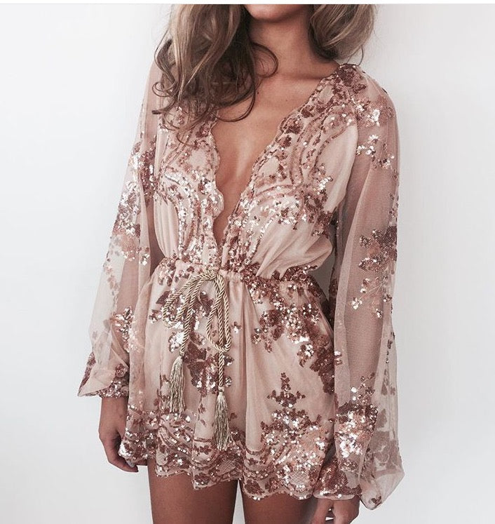 BELLA Sequin Playsuit - Gold