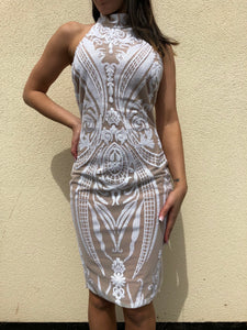 ' YANKI' White Sequin Dress - ROYA COLLECTION