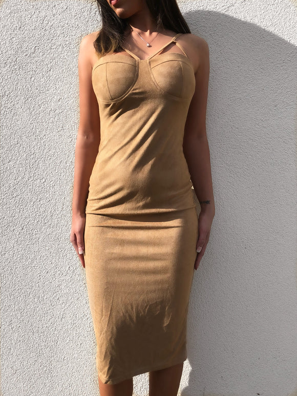 'SUVE' Suede bodycon Dress - ROYA COLLECTION