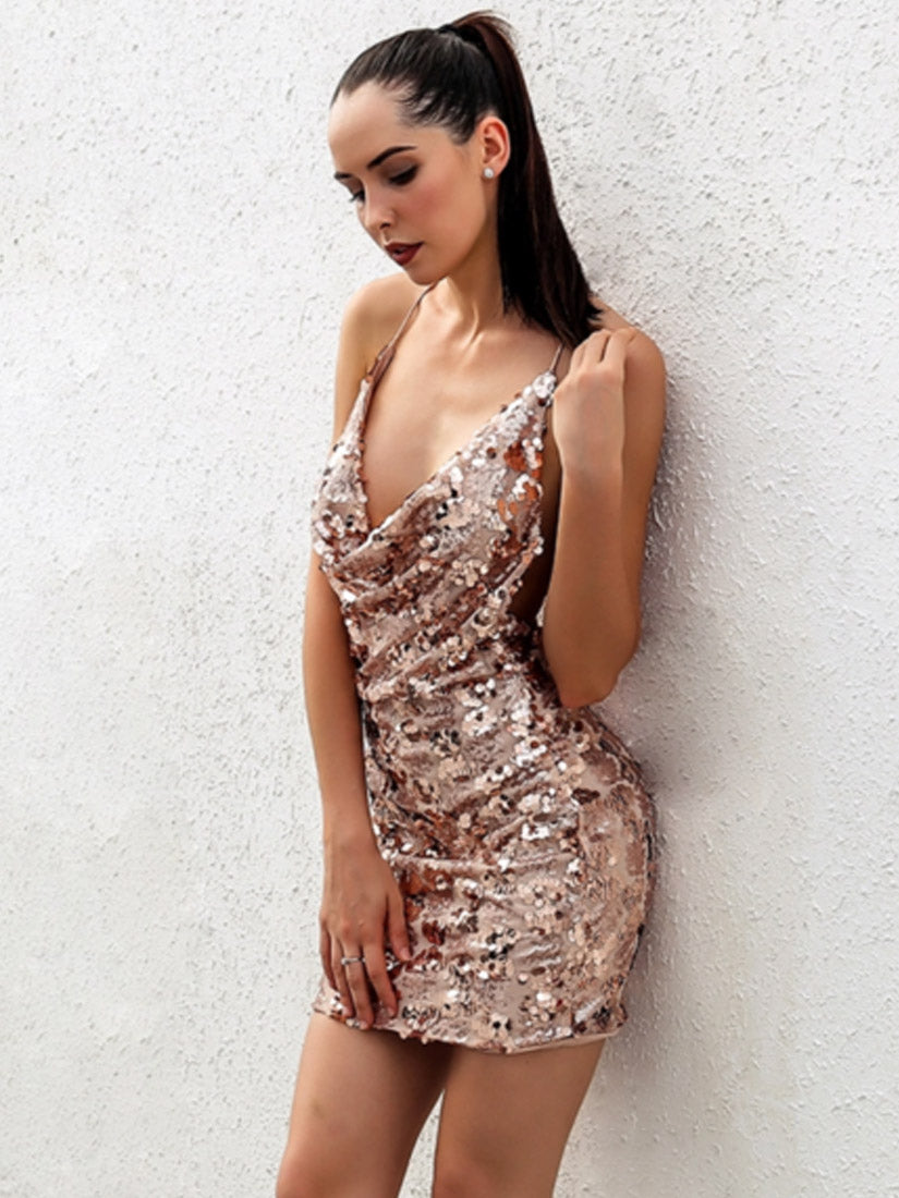 ' NEW BEGINNING ' Cowl Neck Sequin Dress - Rose Gold