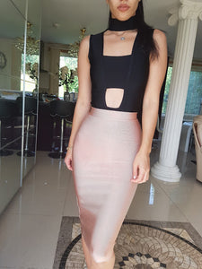 ' MANDY ' Bandage Skirt - Coffee - ROYA COLLECTION