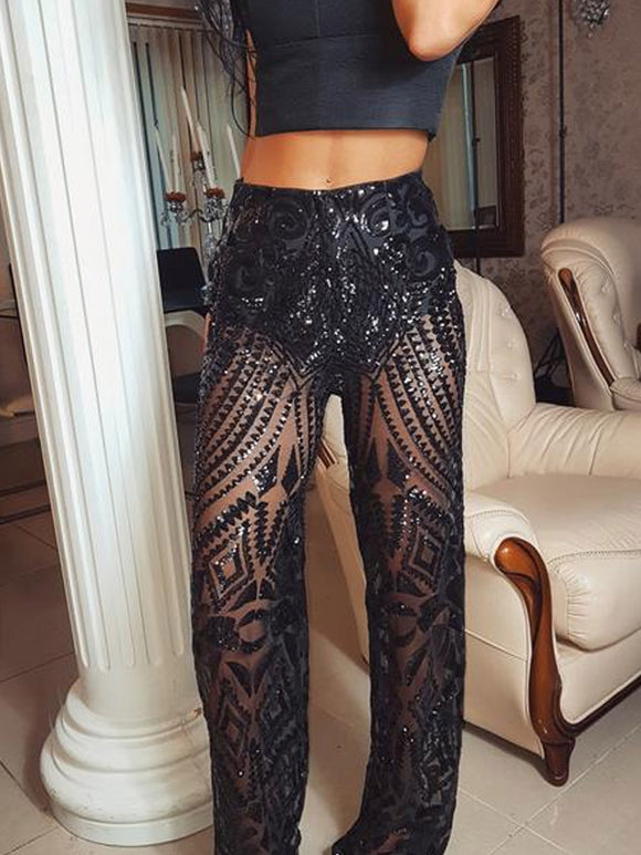 ' TWILIGHT ' Sequin Trousers - Black - ROYA COLLECTION