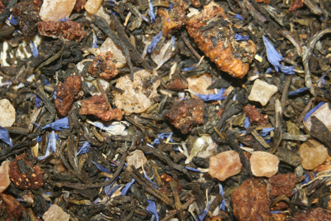 Berry White - China Mao Feng white tea blended with apple, pineapple, mango & papaya, pear, raspberry & strawberry pieces and cornflower petals. 2 oz.