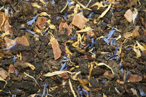 Goji Berry Peach -This divine oolong is flavored with papaya pieces and goji berries with fig, peach and marigold and cornflower petals.  2 oz.