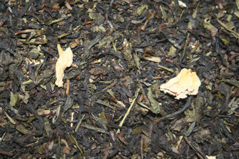 Perfectly Peach -Flavored Formosa oolong and green tea with rose blossoms and peach taste.  2 oz.