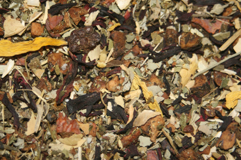 Raspberry Mint - An infusion of apple bits, hibiscus, blackberry & raspberry leaves, peppermint, chamomile and sunflowers.  2 oz.