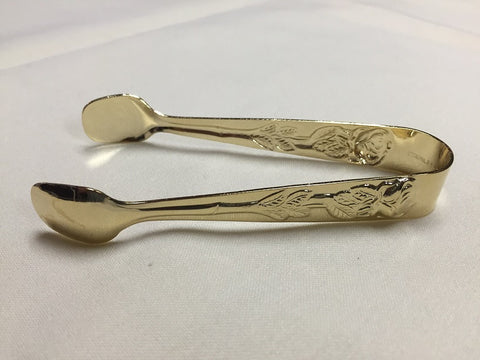 Sugar Tongs - Gold with Rose