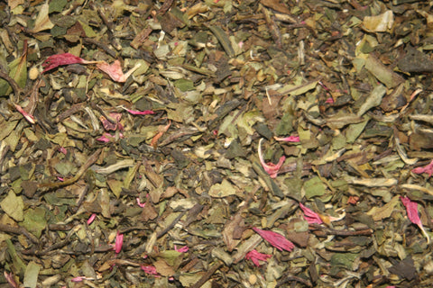Wedding Tea - Exotic Mutan White tea blended with pink rosebuds, vanilla and lemon.  2 oz.