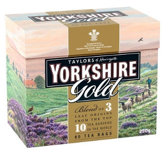 Yorkshire Gold - 80 Bags - Carefully balanced blend of over 30 specially selected teas from Africa, India and Sri Lanka. A malty tea with a rich brown color.
