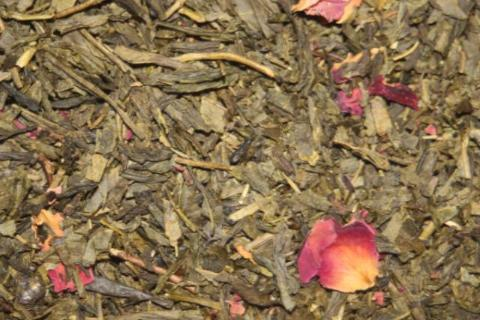 Kyoto Cherry Rose (Organic) - Green tea with coconut and almond flakes. 2 oz.