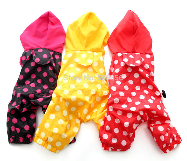 Pet Polka dot dog raincoat  Jumpsuit pet Coat Jacket Waterproof clothes,5 sizes 3 colours - Pestora