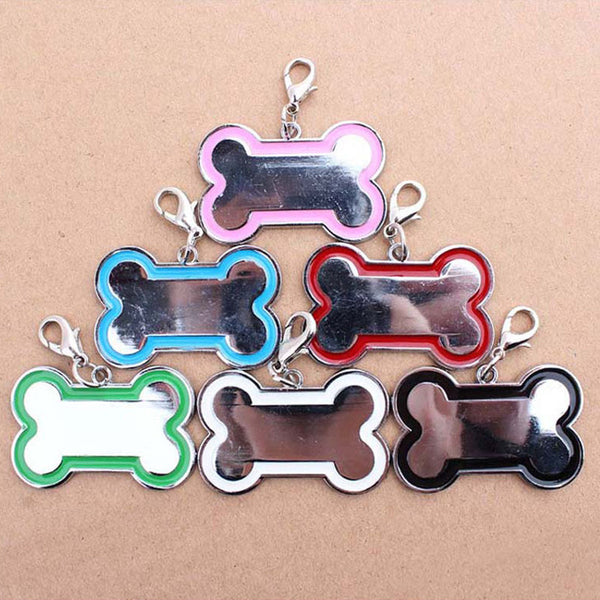 Free Shipping 10pcs/lot Cute Stainless Steel Metal Bone Shaped Pet Dog Cat ID Name Tags for Pet Dog Accessories - Pestora