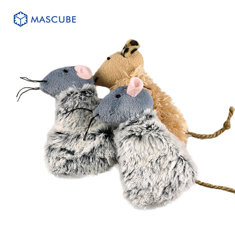 Mascube 2pcs/lot High-quality Pet Supplies Pet Cats Ultra-soft Fluffy Cat Playing Toy Catnip Mouse Shape  11cm jouet chat