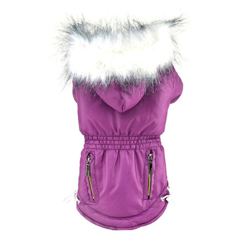 Fur Trimmed Dog Hoodie Candy Color Puppy Cat Warm Coat Waterproof Pet Costume - Pestora