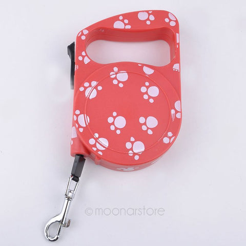 3M Dog Leash - Automatic Retractable with Paw Print Pattern