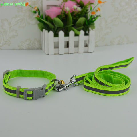 7 Colors 2 Sizes High Quality  Reflective Nylon Material Dog Pets Collar with  Matched Leashes Lead