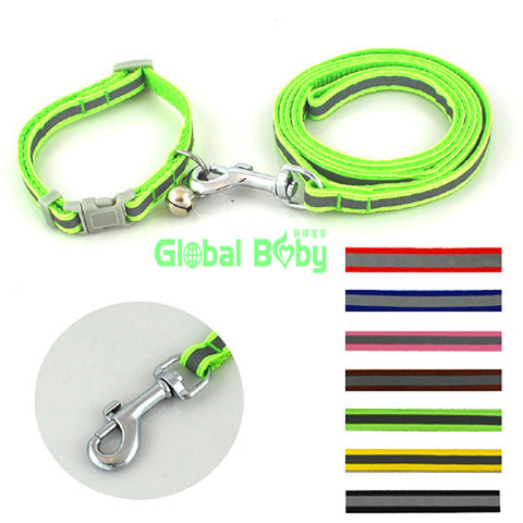 7 Colors 2 Sizes High Quality  Reflective Nylon Material Dog Pets Collar with  Matched Leashes Lead - Pestora