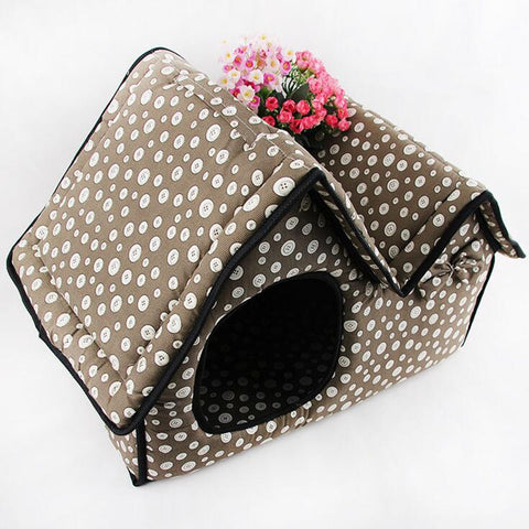 51x26x37cm Pet House Pet Supply Double Top Zipper Dot Warm Dogs Kennel Cat /Dog House Folding Pet Beds for /Spring/Autumn/Winter