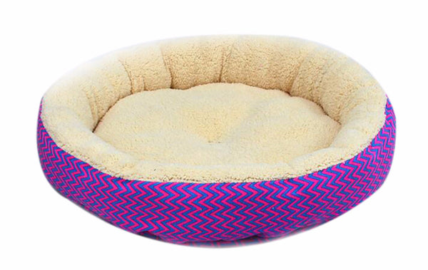 Hot Sale 2 Colors Round Soft Dog House Dog Bed Striped Pet Cat And Dog Bed Grey /Red-Blue Size S M Pet Products - Pestora
