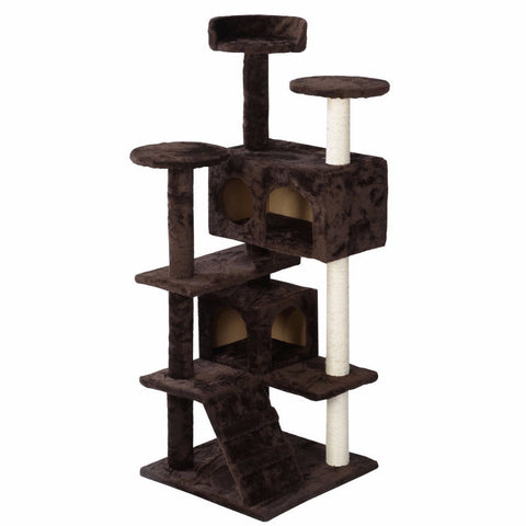 New Cat Tree Tower Condo Furniture Scratch Post Kitty Pet House Play Beige Paws PS5791YEDOG - Pestora