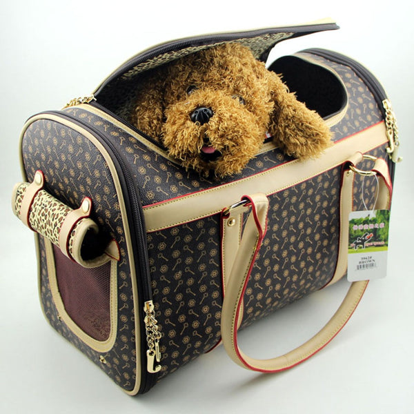 Fashion brand Pet dog backpack carrying dog cat travel bag foldable dog carriers for small dogs Brown removable pet carrier bag
