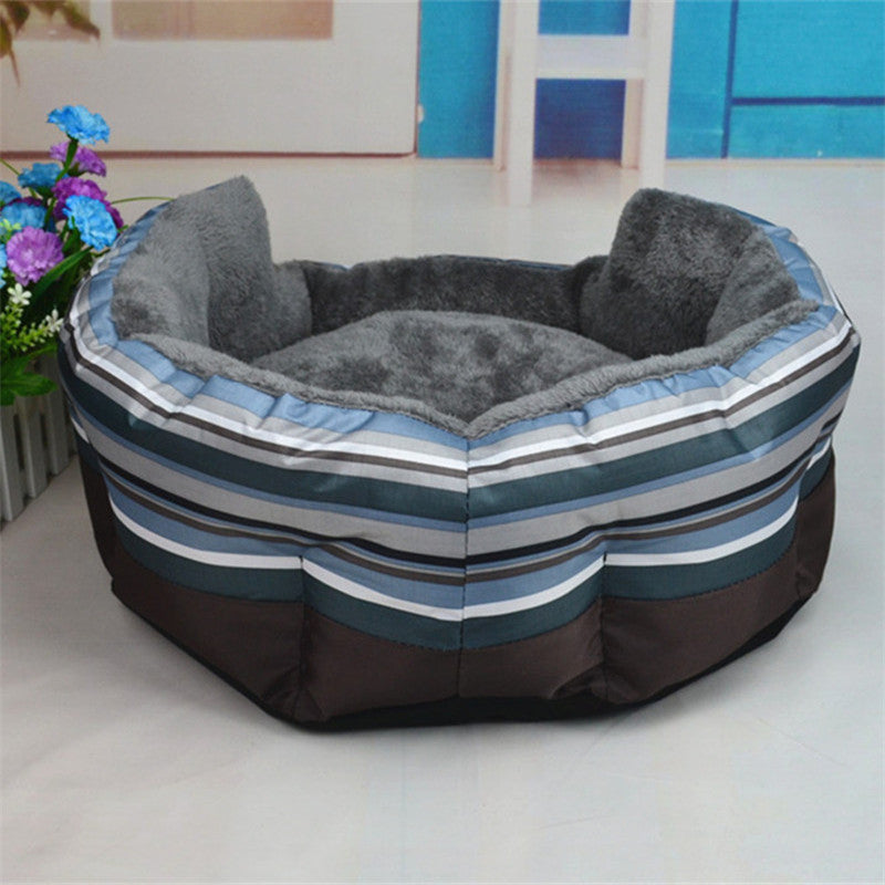 2016 Hot Selling Pet cat litter kennel Golden Teddy Washable Sofa Stripe Autumn And Winter