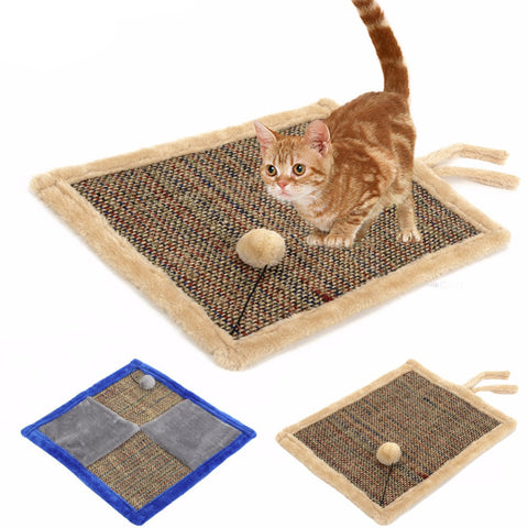 Double Sided Cat Scratch Board with Sherpa Ball Toy,Kitten Scratcher Mat Pad Post Interactive Toy for Pet Training