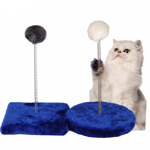 Pet Cat and Kitten Scratching Post Fluffy Spring-loaded Ball Scratcher Toy Interactive Toy for Pet Biting Training Random Color - Pestora