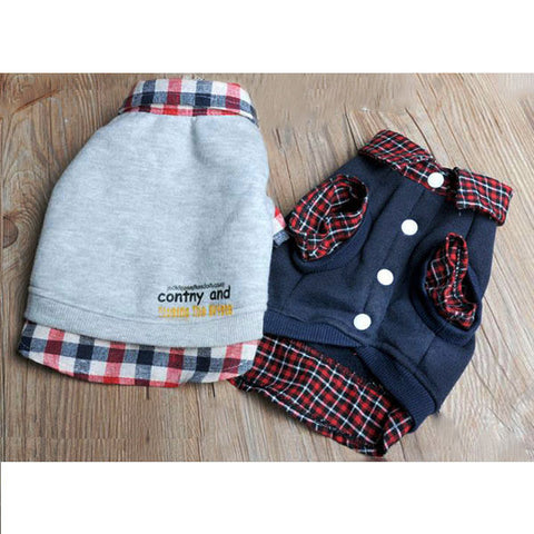 Dog Cat Jackets  Grid Sweater Puppy Warm Coat T-Shirt Pet Clothes POLO Shirt Dog Apparel