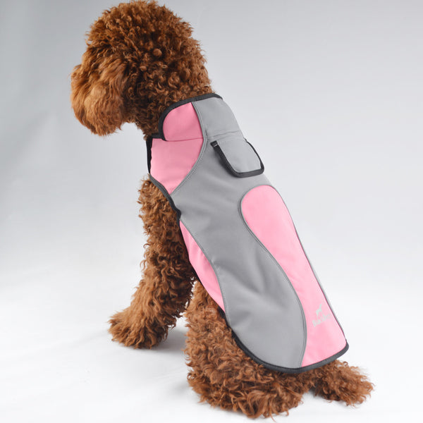 Black Doggy Spring waterproof fleece pets clothes wear-resistant warm dog outdoor coat jacket easy wear pink raincoat VC14-JK014 - Pestora