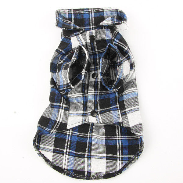 Dog Pet Casual Plaid Lapel Button Shirt Jacket Cotton Blend Sweatshirt Dogs Clothes Best - Pestora