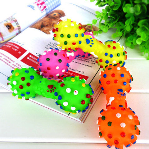 Dog Toys  Colorful Dotted Dumbbell Shaped Dog Toys Squeeze Squeaky Faux Bone Pet Chew Toys For Dogs Free Shipping