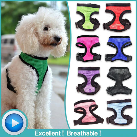 13 colors Adjustable Soft Breathable Dog Harness Nylon Mesh Vest Harness for Dogs Pets Collar Pets Chest Strap Leash