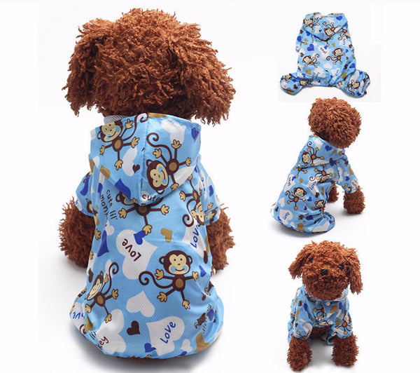 Pet Dog Hoodie Hooded Rain Coat Clothes Dogs Puppy Casual Waterproof Jacket Hot - Pestora
