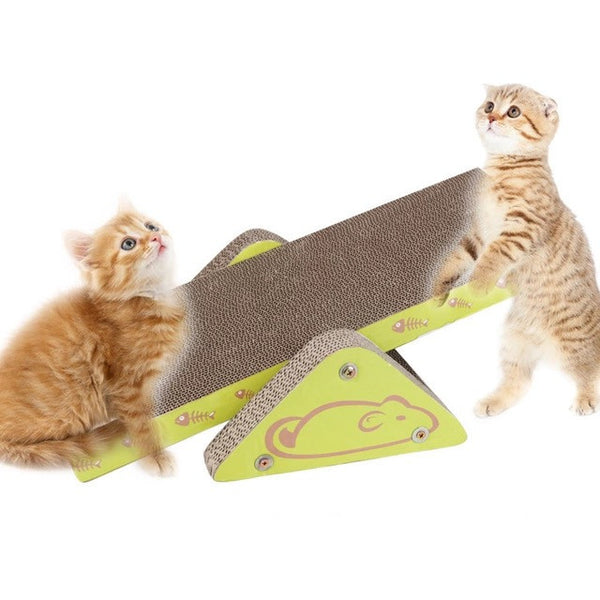 Pet Cat Toy S-shaped Scratcher with Catnip Lounge Handmade Kitten Scratching Post Interactive Toy Seesaw For Pet Cat Training - Pestora