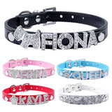 5 Colors Plain Leather Personalized Pet Dog Collars DIY Cat Names Pet with Free Name and Charm - Pestora